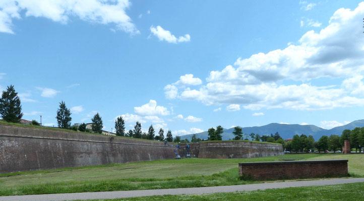 Intakte Wehranlage rund um die Altstadt von Lucca