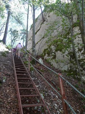 Aufstieg beim Roche de l'Aigle