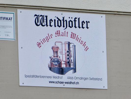 Reklameschild für den Single Malt Whisky