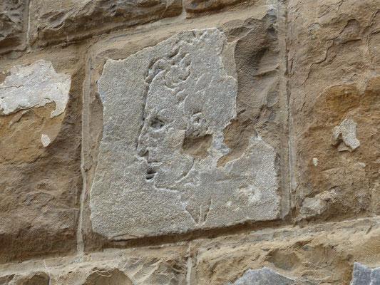 Der Kopf von Girolamo Savonarola wurde in den Stein gekritz, als er und zwei seiner Bürder auf der Piazza della Signoria gehängt und verbrannt wurden