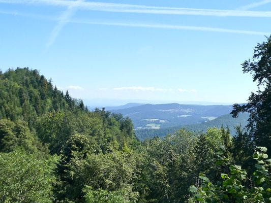 Oberhalb Welschgätterli Blick nach Himmelried, links das Hoggenkreuz