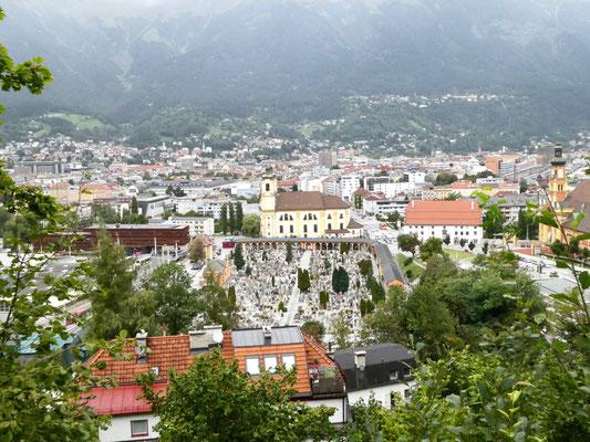 Blick auf Innsbruck, den die Skispringer haben