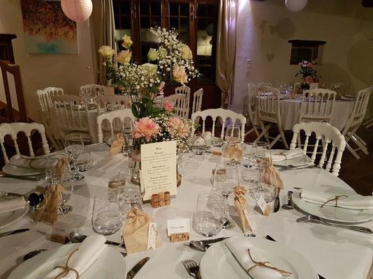 Domaine de Millox, détails d'une décoration de mariage