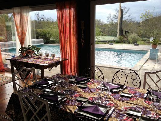 domaine de Millox, table d hotes nappe africaine