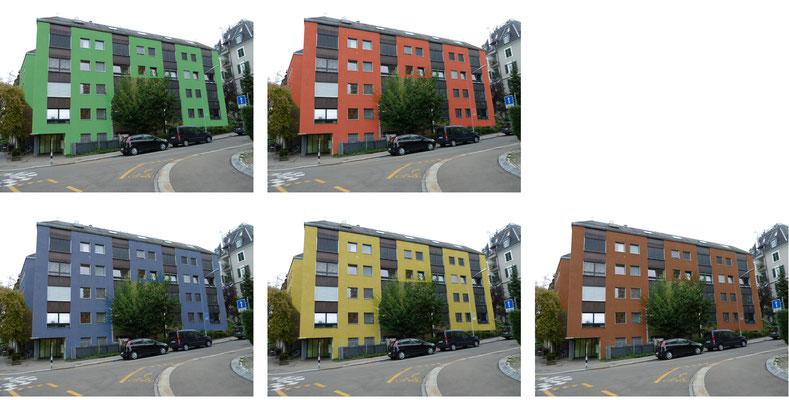 Entwürfe für die Fassaden Farbe