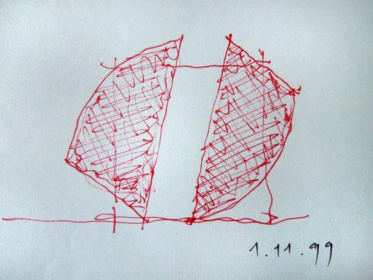 skizze zu faltquadrat mit segmenten, 1999