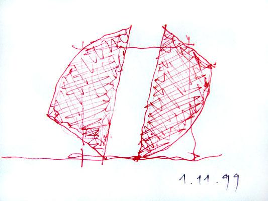 gefaltetes quadrat mit kreissegmenten, skizze 1999