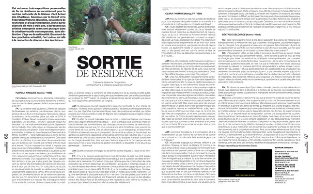 Florian KINIQUES - Clara THOMINE - Béatrice DELCORDE / MAAC  — L'art même, 2020