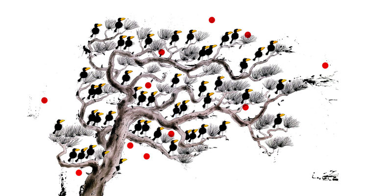 Raben Die Auf Bäumen Sitzen, Kunstdruck, limitierte Auflage, handsigniert, 70 x 35 cm