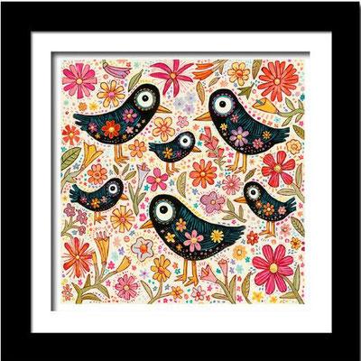 """""""Birds and Flowers"""", 3-D Art Grafik, Limitierte Auflage, handsigniert, mit Rahmen 40 x 40 cm"""