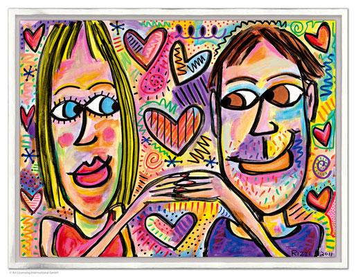 """""""You Make Me Happy"""", Siebdruck auf Leinwand mit Schattenfuge, limitierte Auflage, 80 x 60 cm Motivmaß"""