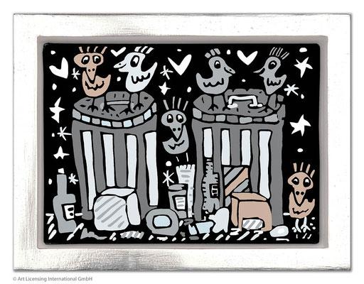 """""""Garbage Night"""", Siebdruck auf Leinwand mit Schattenfuge, limitierte Auflage, 20 x 15 cm Motivmaß"""