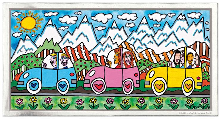 """""""Driving Through The Alps"""", Siebdruck auf Leinwand mit Schattenfuge, limitierte Auflage, 66 x 36 cm Rahmenmaß"""