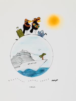 Beautiful Cruise Crows, Kunstdruck, limitierte Auflage, handsigniert, 33 x 48 cm