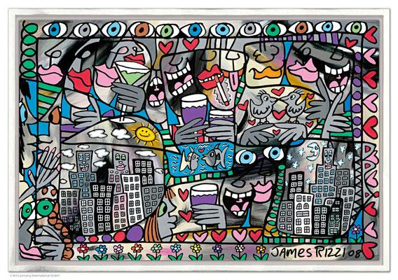 """""""So Happy Together"""", Siebdruck auf Leinwand mit Schattenfuge, limitierte Auflage, 90 x 60 cm Motivmaß"""