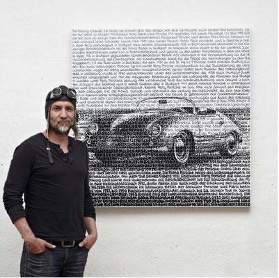 Porsche 356, Blatt 60 x 60 cm, Motiv 40 x 40 cm, Auflage 356 Blatt