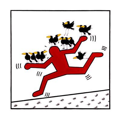 Rabshommage An Keith Haring, Kunstdruck, limitierte Auflage, handsigniert, 50 x 50 cm