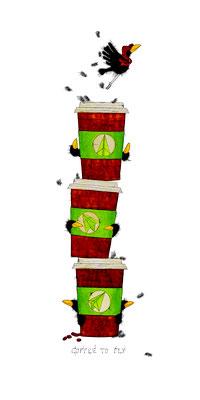 Coffee To Fly, Kunstdruck, limitierte Auflage, handsigniert, 30 x 60 cm
