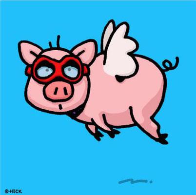 """""""When Pigs Fly"""", Pigmentdruck, limitierte Auflage, Handsigniert, 70 x 70 cm"""