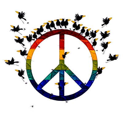 Peace, Kunstdruck, limitierte Auflage, handsigniert, 50 x 50 cm