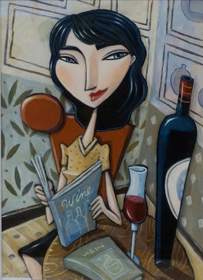 """Woman Reading a Wine Book"", 3-D Art Grafik, Limitierte Auflage, handsigniert, mit Rahmen 40 x 50 cm"