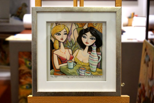 """Coffee with a Friend"", 3-D Art Grafik, Limitierte Auflage, handsigniert, mit Rahmen 23 x 23 cm"