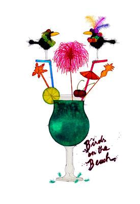 Birds On The Beach, Kunstdruck, limitierte Auflage, handsigniert, 33 x 48 cm