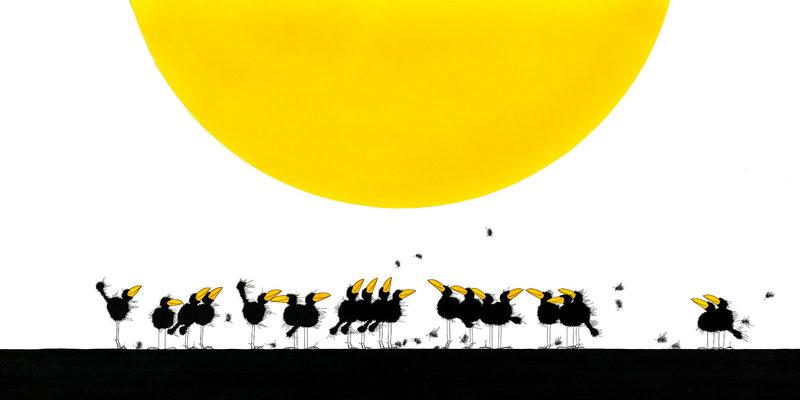 Sonnenanbeter, Kunstdruck, limitierte Auflage, handsigniert, 75 x 35 cm
