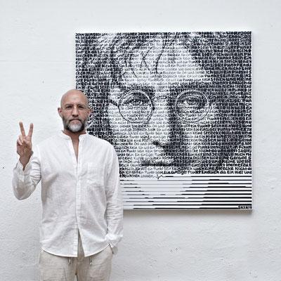 John Lennon, Blatt 60 x 60 cm, Motiv 40 x 40 cm, Auflage 80 Blatt