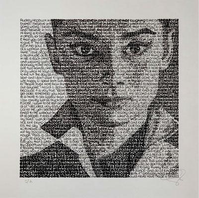 Audrey Hepburn, Blatt 60 x 60 cm, Motiv 40 x 40 cm, Auflage 80 Blatt