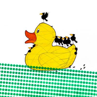Rubber Duck L, Kunstdruck, limitierte Auflage, handsigniert, 50 x 50 cm