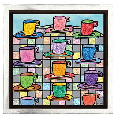 """""""The Most Colourful Cups Of Coffee"""", Siebdruck auf Leinwand mit Schattenfuge, limitierte Auflage, 45 x 45 cm"""