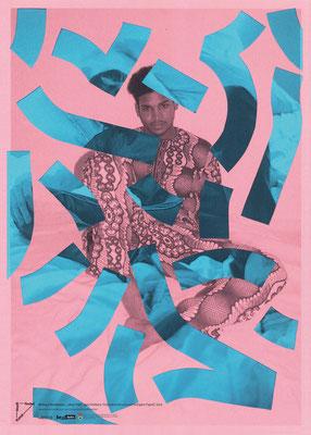 """Melissa Steckbauer, """"ohne Titel"""", geschnittene Tintenstrahldrucke auf farbigem Papier, 2016"""