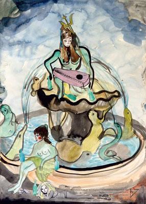 """Niina Lehtonen Braun, """"Der Neptunbrunnen"""", Tinte, Wasserfarbe & Collage auf Papier, 2020"""