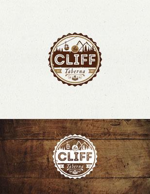 Diseño de logo para The Cliff Taberna, ubicado en Guimarães, Portugal | Logo design for The Cliff Taberna, located in Guimarães, Portugal