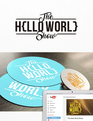 Propuesta de logo para The Hello World Show, un show de Youtube sobre tecnología y programación | Logo proposal for The Hello World Show, a  YouTube show around tech and coding