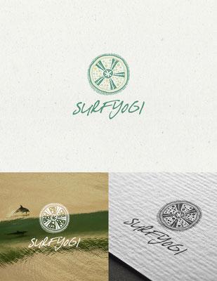 Propuesta de logo para Surfyogi, un estudio de yoga que propone la novedad de yoga y bienestar en tierra y agua en Nueva Zelanda | Logo proposal for Surfyogi, a yoga studio doing innovative land and water yoga and wellbeing in New Zealand