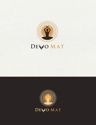 Logo para Devo Mat, un mat de yoga único que incluye una hermosa plegaria en su diseño | Logo for Devo Mat, a uniquely designed, custom-made yoga mat that features a beautiful prayer