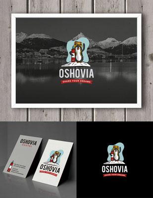 Propuesta de logo para Oshovia, un hostel ubicado en Ushuaia, Argentina | Logo proposal for Oshovia, a hostel located in Ushuaia, Argentina