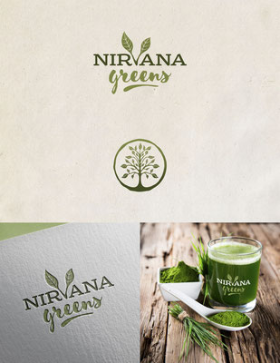 Propuesta de logo para Nirvana Greens, una bebida energizante en polvo basada en plantas | Logo proposal for Nirvana Greens, a plant-based energy drink powder