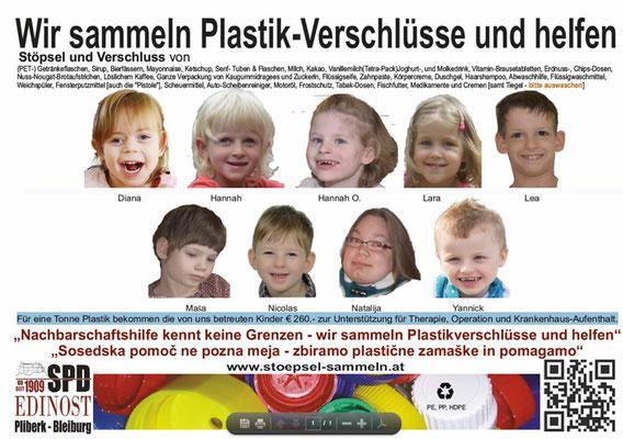 Diese werden an eine Recycling-Firma verkauft, die daraus Granulat zur Produktion von Plastikteilen herstellt. Für 1 Tonne Plastik werden € 260.- ausbezahlt. Kinder mit seltenen Erkrankungen bekommen dadurch Unterstützung für Therapie, Operationen und Kr