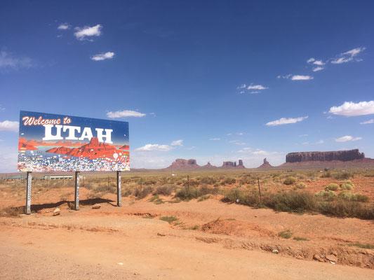"""Panneau """"Welcome to Utah"""" avant l'entrée du parc"""
