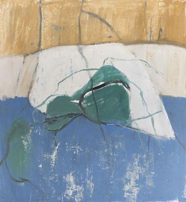 Urzeit-Meer, 2018. Acryl-Cellulose auf Papier. 108 x 100 cm.