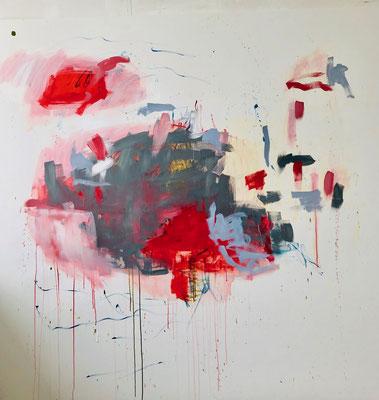 Red in Tachism II, 2019. Acryl auf Leinwand. 200 x 200 cm.