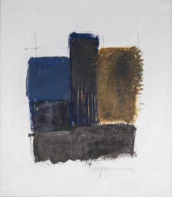 Blue Square, not alone, 2016. Acryl-Cellulose auf Papier. 119 x 100 cm.