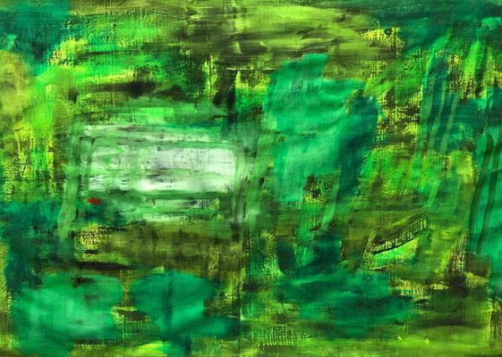 Myself in a lot of green, 2020. Acryl-Cellulose auf Papier auf Leinwand. 100 x 150 cm.