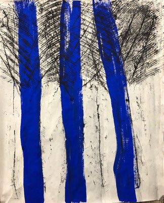 Blue stripes in process, 2020. Acryl cellulose on paper on canvas. 120 x 100 cm.