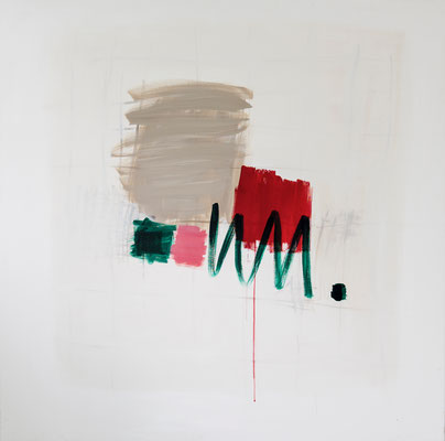 12/2014 Red Square with Green, 2014. Acryl auf Leinwand. 150 x 150 cm.