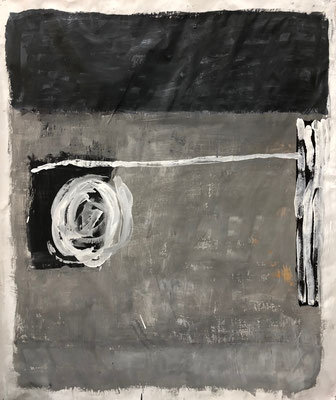 Very last information, 2020. Acryl cellulose on paper on canvas. 117 x 100 cm.