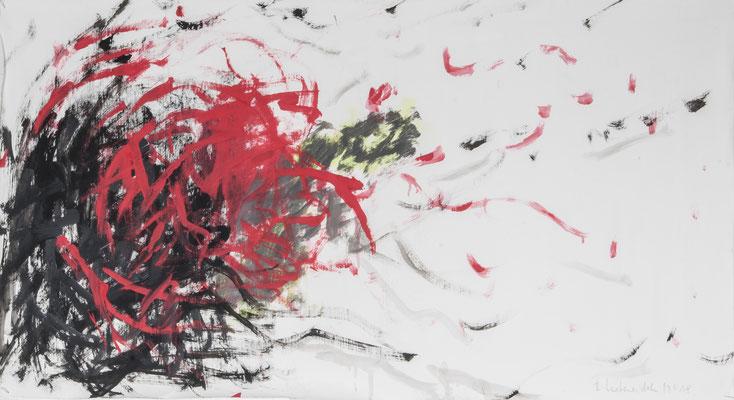 Red Storm, 2018. Gouache auf Papier. 49 x 90 cm.